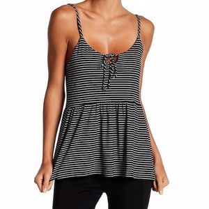 ON ITS WAY • Black & White Striped Peplum Tank Top